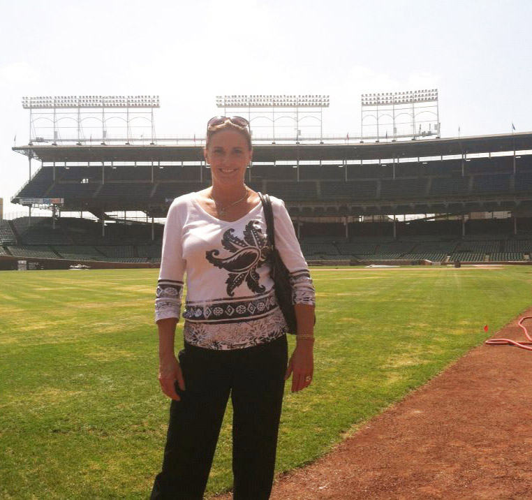 Traci FIne at Wrigley Field in Chicago.