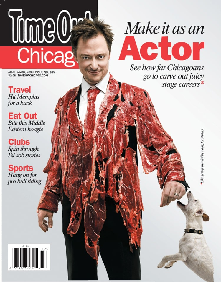 Actor on the cover of TIME OUT Magazine. Makeup by Traci Fine of Fine Makeup Art & Associates