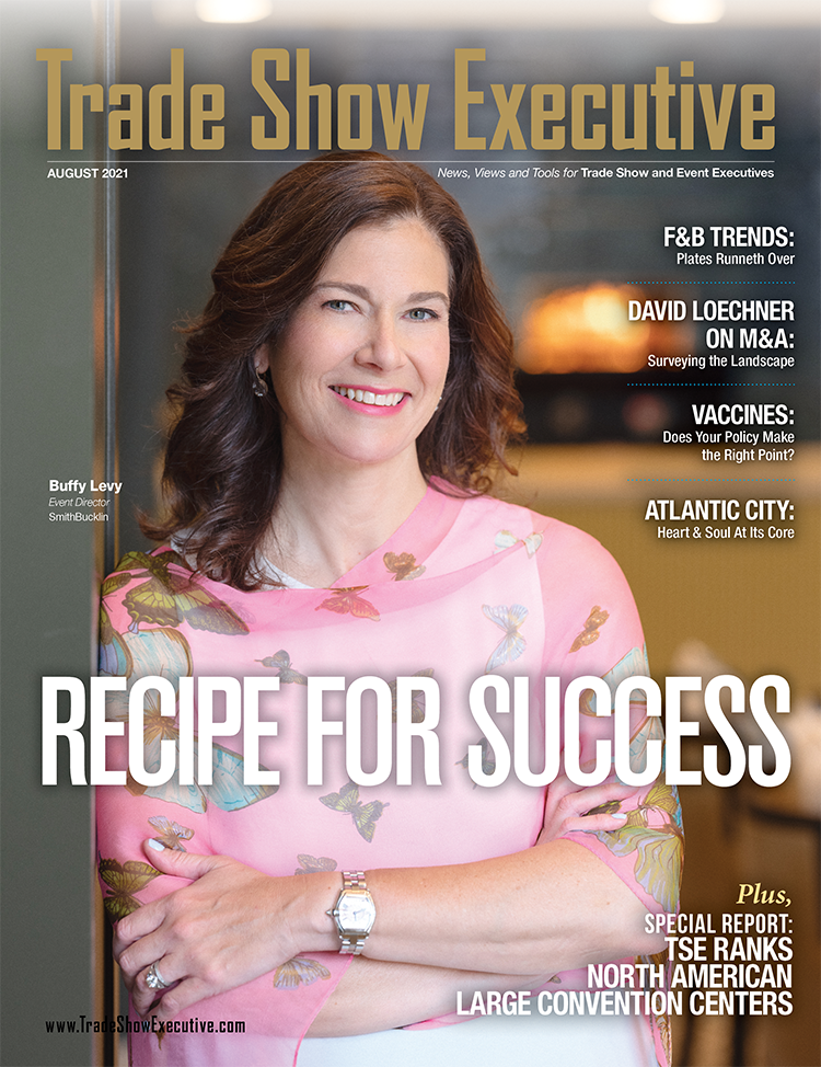 Tradeshow Executive Magazine Cover August 2021. Makeup by Traci Fine for Fine Makeup Art & Associates
