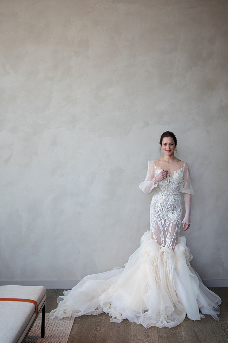 Advertisement for Nobu Hotel Chicago featuring Jimmy Choo Bridal wedding gown