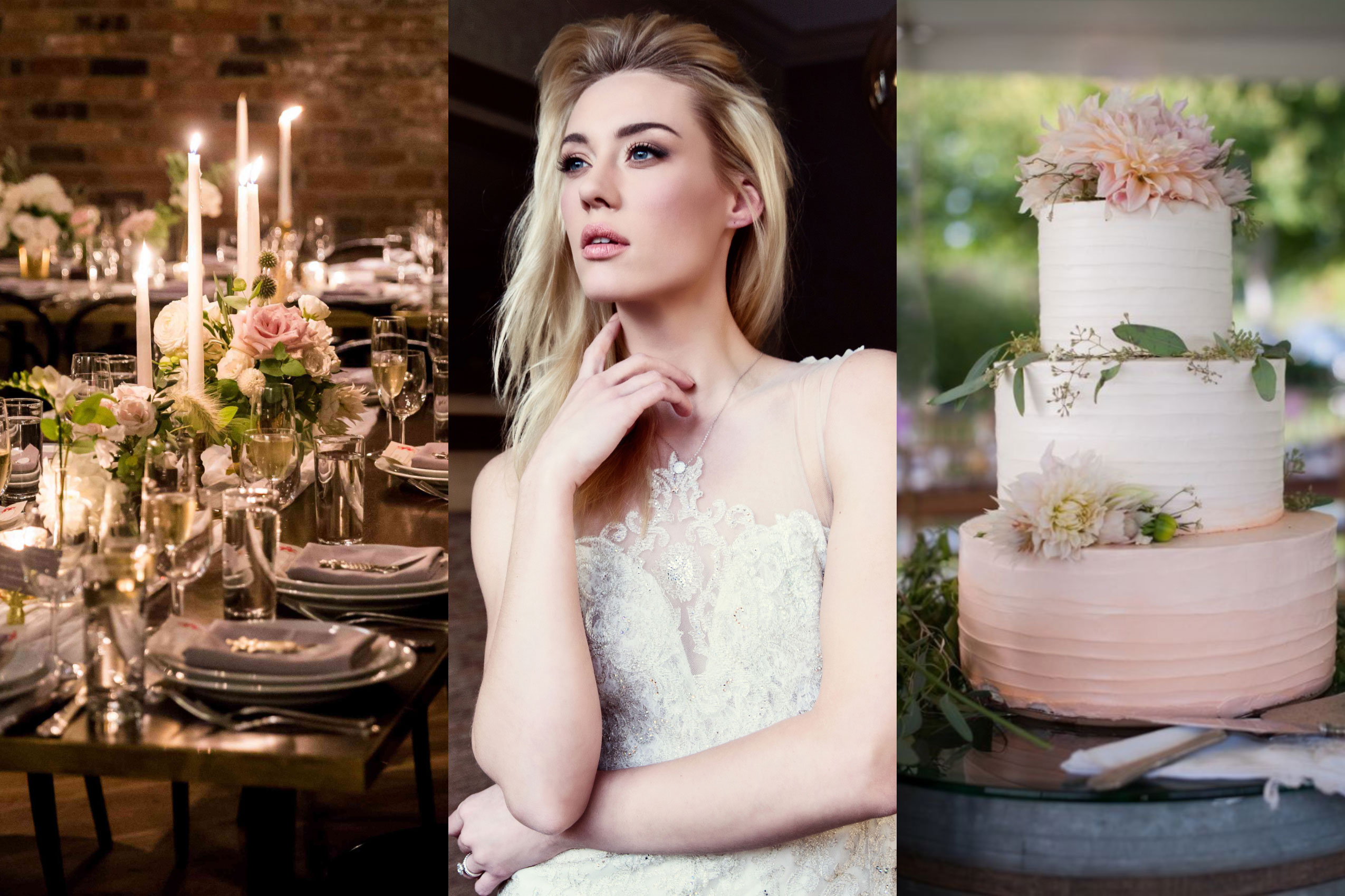 Natural Wedding Makeup with rose toned blush and lip color