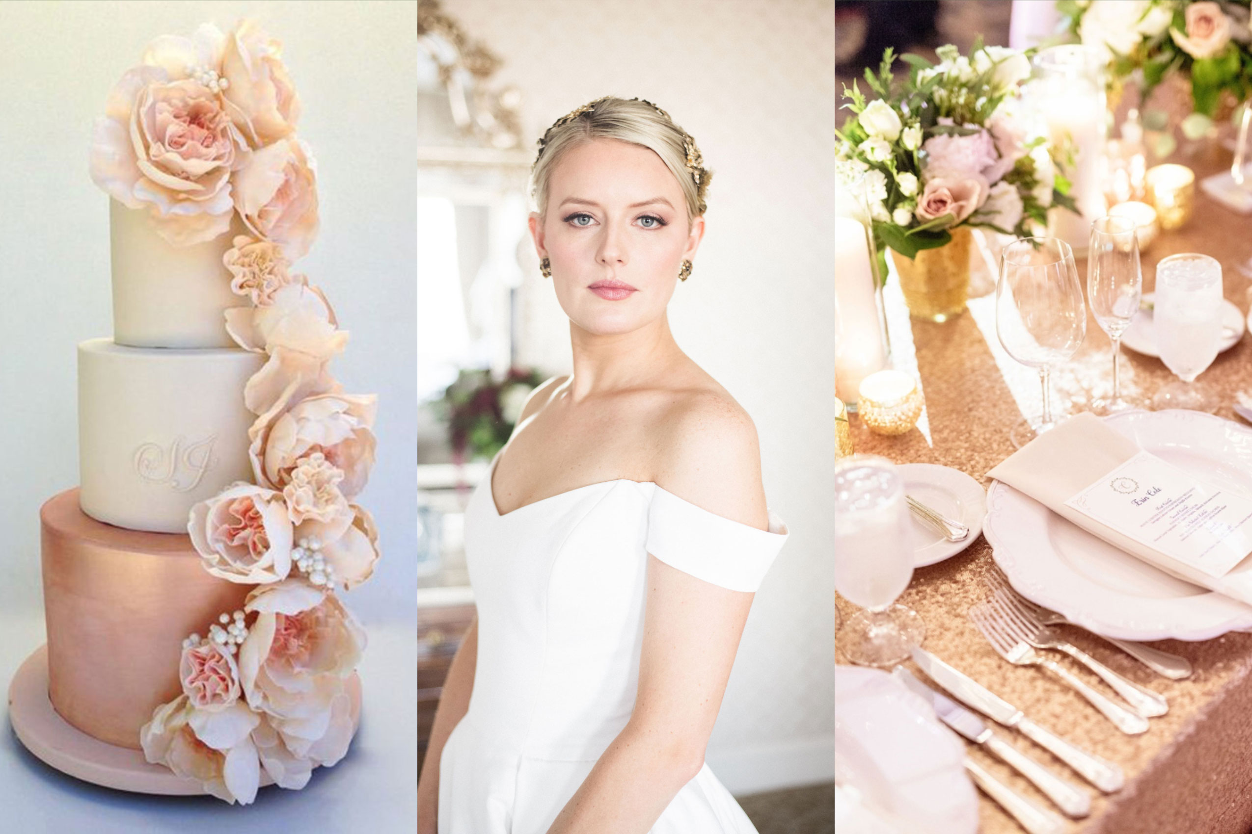 Rose Gold Makeup look on a Bride wearing a rose gold head piece