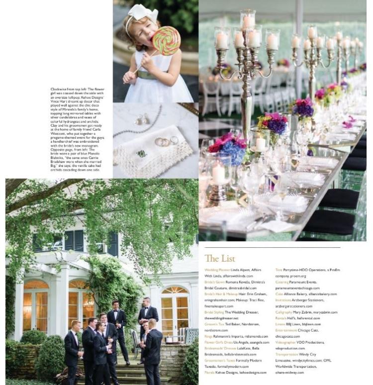 editorial in Modern Luxury Magazine North Shore Weddings