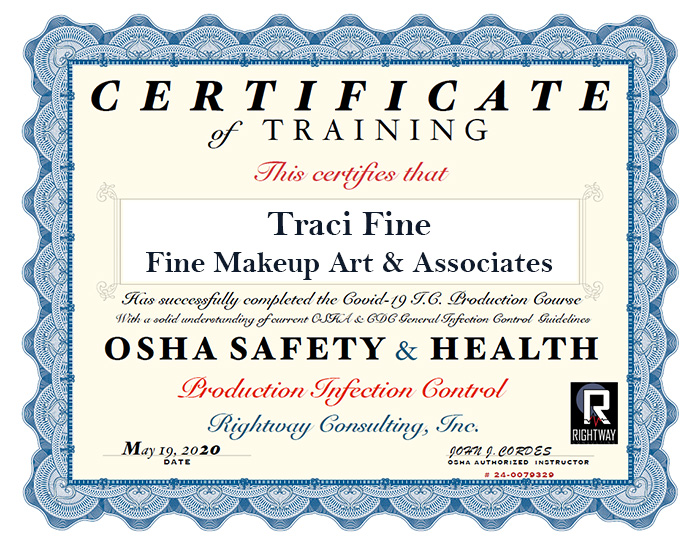 OSHA certification of completion of Covid Production Safety Course